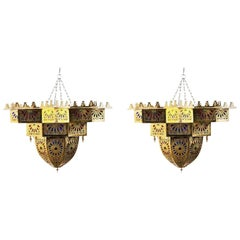 Vintage Moroccan Brass and Colored Glass Chandelier, a Pair