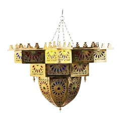 Vintage Moroccan Brass and Colored Glass Chandelier