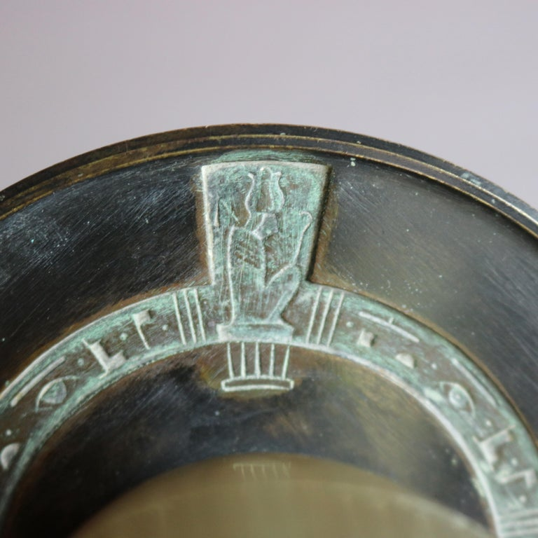 19th Century Tiffany & Co. Favrile Art Glass and Bronze Egyptian Revival Libation Glass For Sale