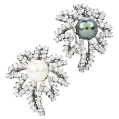 Tiffany & Co. Fireworks 4.50cts Diamond Pearl Platinum Earrings