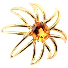 Tiffany & Co Fireworks Citrine Large Yellow Gold Pin Brooch