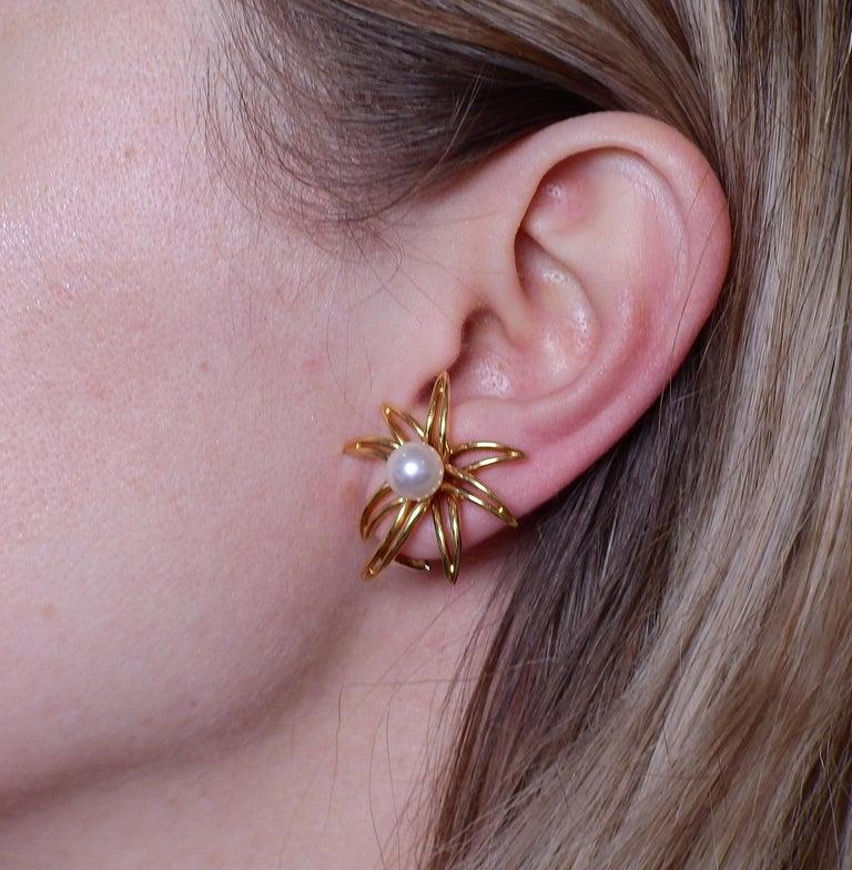 Women's Tiffany & Co. Fireworks Pearl Gold Earrings Brooch Set For Sale