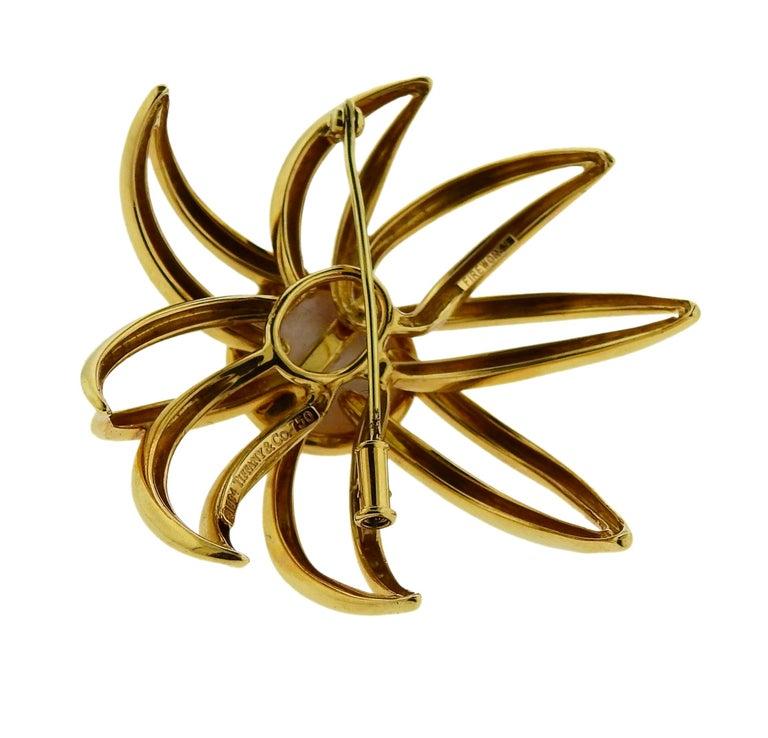 Tiffany & Co. Fireworks Pearl Gold Earrings Brooch Set For Sale 1