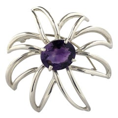 Tiffany & Co. Fireworks Sterling and Amethyst Large Brooch
