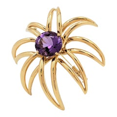 Tiffany & Co. 'Fireworks' Yellow Gold and Amethyst Brooch