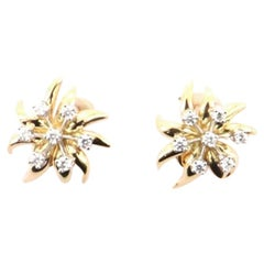Tiffany & Co. Flame Ear Clip-On Earrings 18 Karat Yellow Gold and Platinum wit