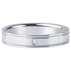 Tiffany & Co. Flat Double Milgrain Platinum Band with 1 Round Brilliant Diamond