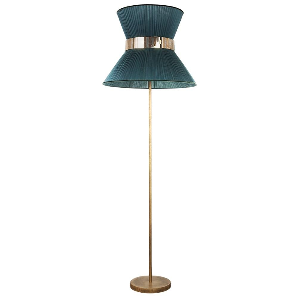 Tiffany contemporary Floor Lamp 60 Tree Silk, Antiqued Brass, Silvered Glass