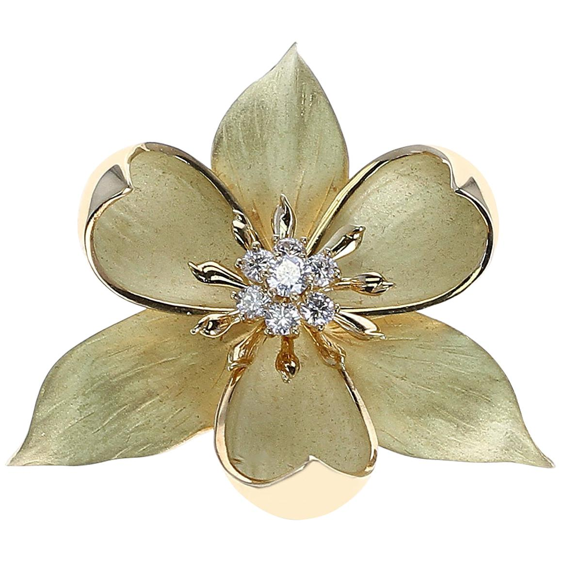 Tiffany & Co. Floral Diamond Brooch, 18 Karat Yellow Gold