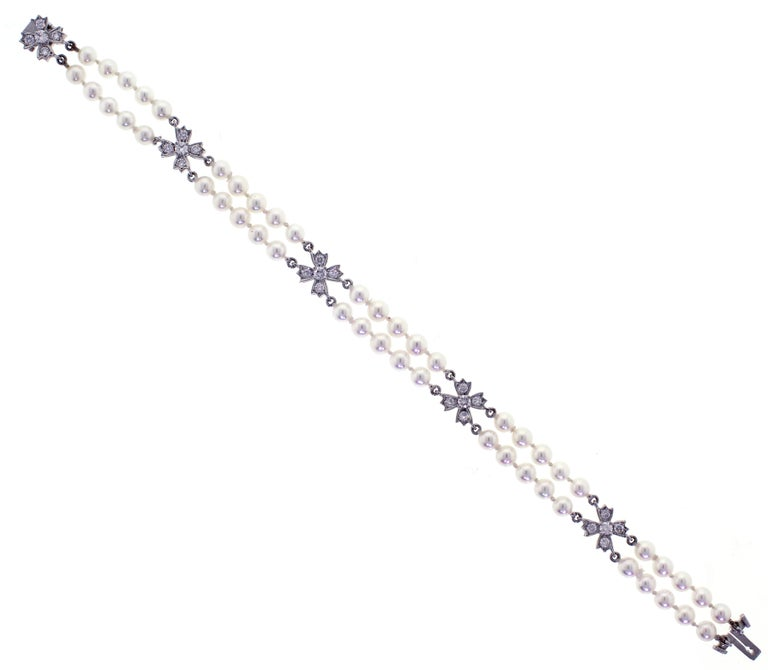 6cb7d713b Floret Flourishes Diamond Platinum Pearl Bracelet For Sale. From Tiffany &  Co.'s Floret Flourishes collection, a double strand pearl and