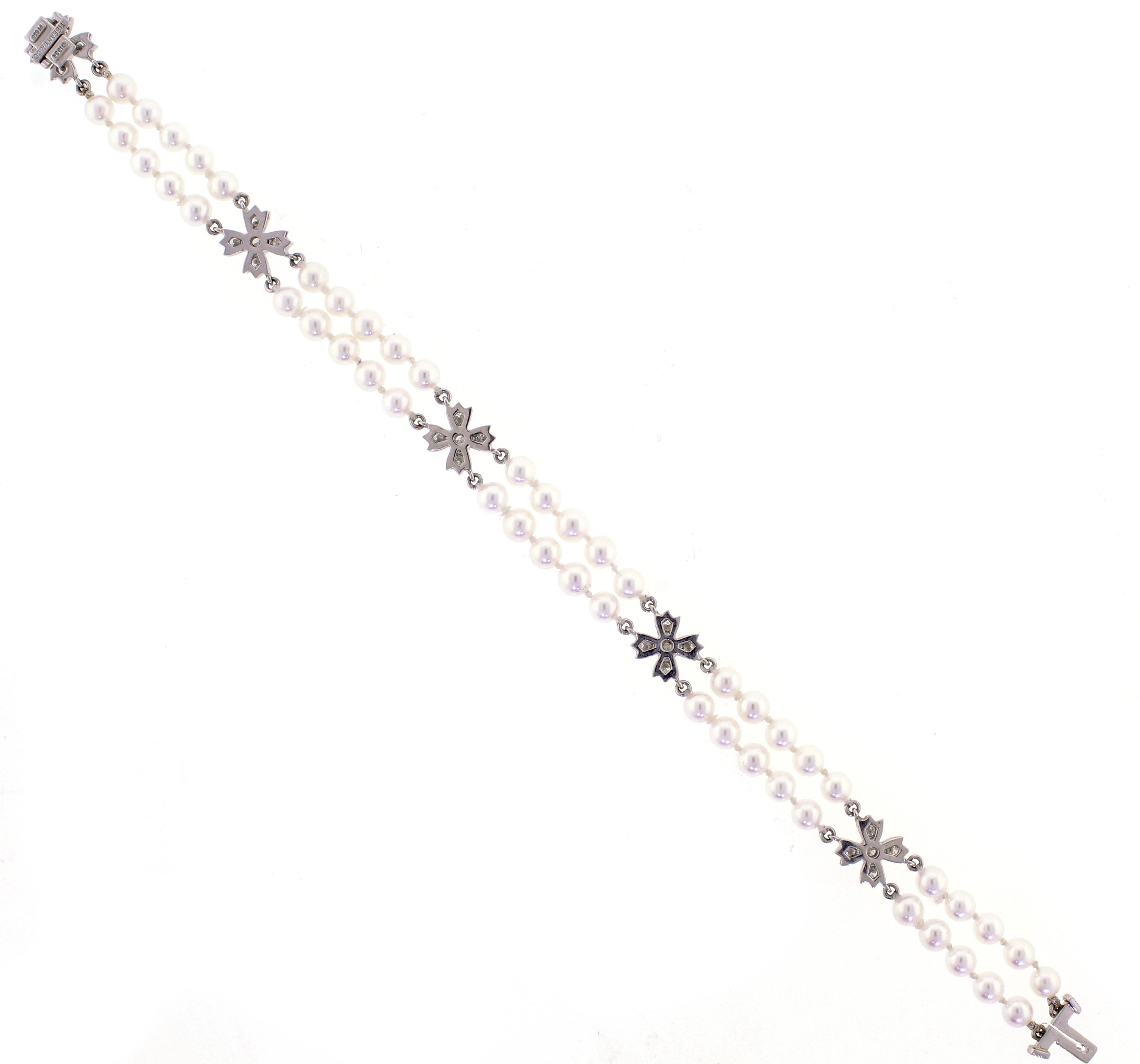 4e408a9f8 Tiffany and Co. Floret Flourishes Diamond Platinum Pearl Bracelet at 1stdibs