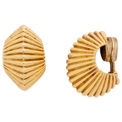 Tiffany & Co. Fluted Gold Retro Ear Clips, circa 1950