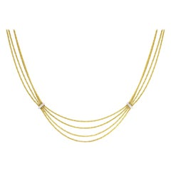 Tiffany & Co. Four-Stand Gold and Diamond Necklace