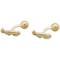 Tiffany & Co. France 18 Karat Gold Golf Bag and Ball Cufflinks