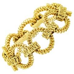 Tiffany & Co. France 18 Karat Yellow Gold Textured Open Link Bracelet