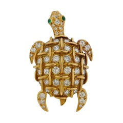 Tiffany & Co. France Diamond Emerald Gold Turtle Brooch Pin
