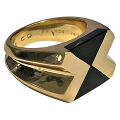 Tiffany & Co. France Gold and Onyx Architectural Design Ring for Him or Her