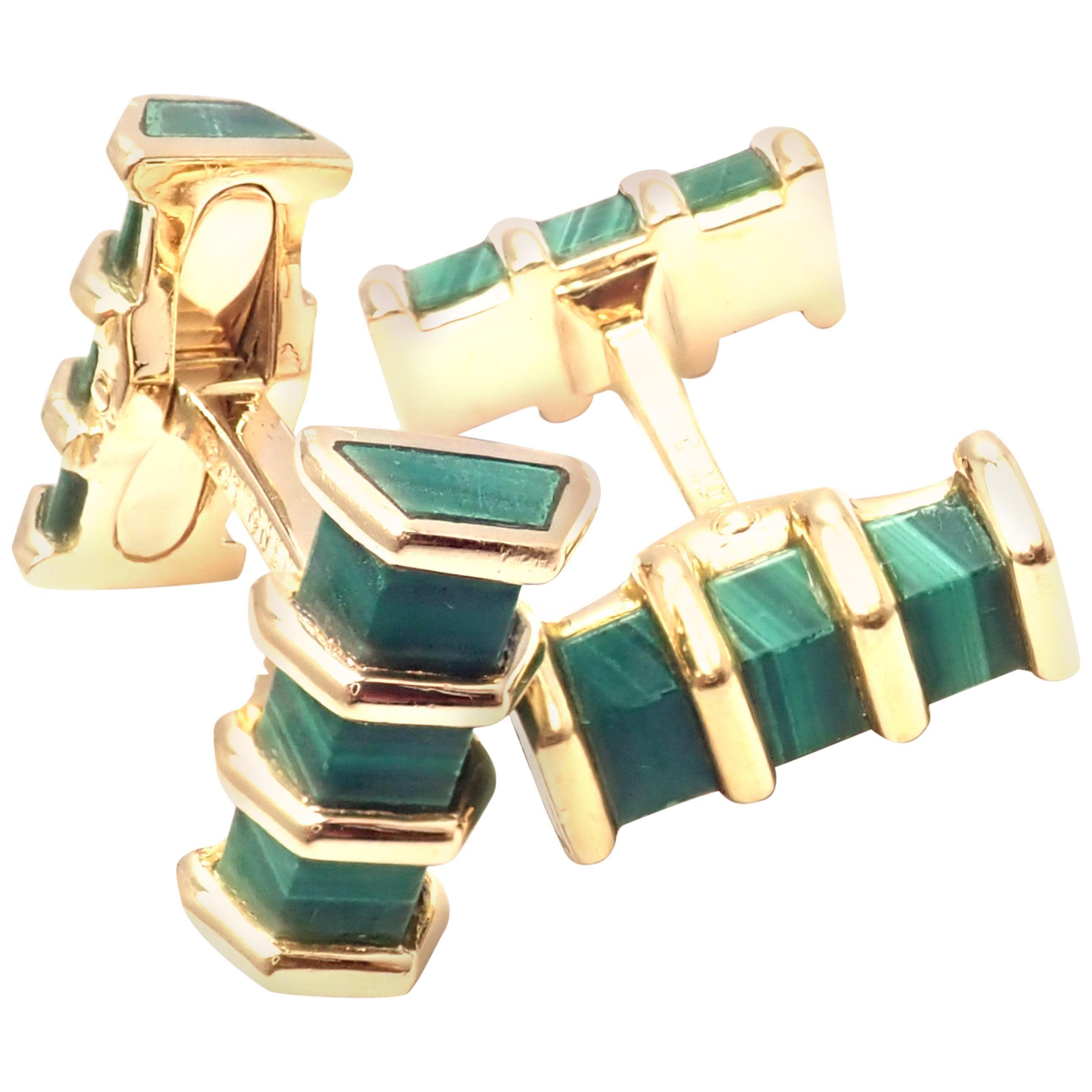 Tiffany & Co France Malachite Yellow Gold Cufflinks