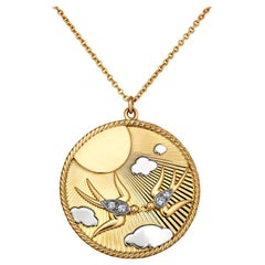 Tiffany & Co. France Vintage Diamond Gold Love Birds Pendant Charm Necklace