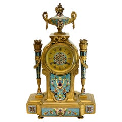Tiffany & Co. French Champlevé Enamel Gilt Bronze Repeater Clock
