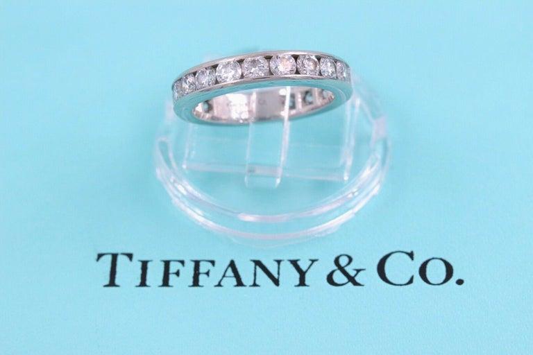 Tiffany & Co. Full Circle Platinum Diamond Eternity Band Ring 1.80 Carat For Sale 5