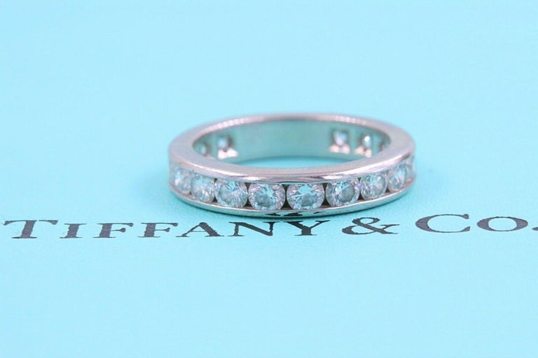 Tiffany & Co. Full Circle Platinum Diamond Eternity Band Ring 1.80 Carat In Excellent Condition For Sale In San Diego, CA