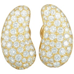 Tiffany & Co. Full Diamond Pave Yellow Gold Bean Clip-On Earrings