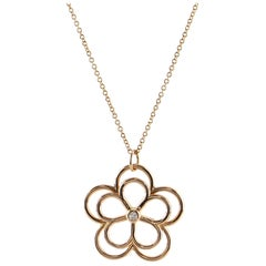 Tiffany & Co. Garden Open Flower Pendant Necklace 18K Rose Gold and Diamond