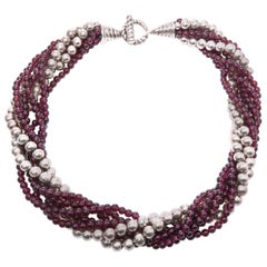 Tiffany & Co. Garnet and Sterling Silver Bead Torsade Necklace