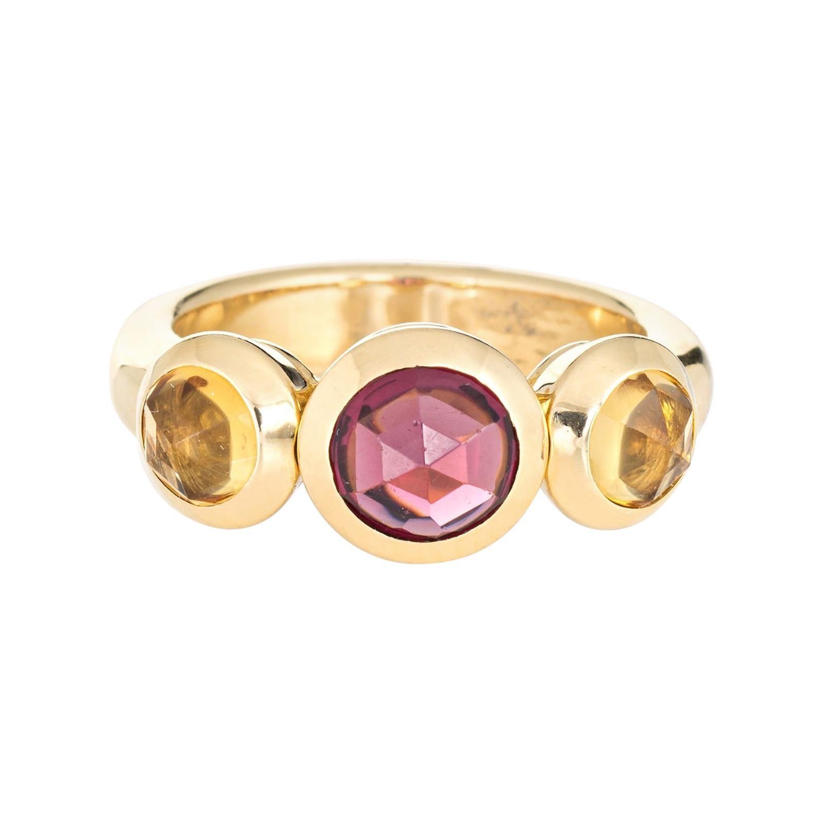Tiffany & Co. Garnet Citrine Ring Estate 18k Gold France Signed Jewelry
