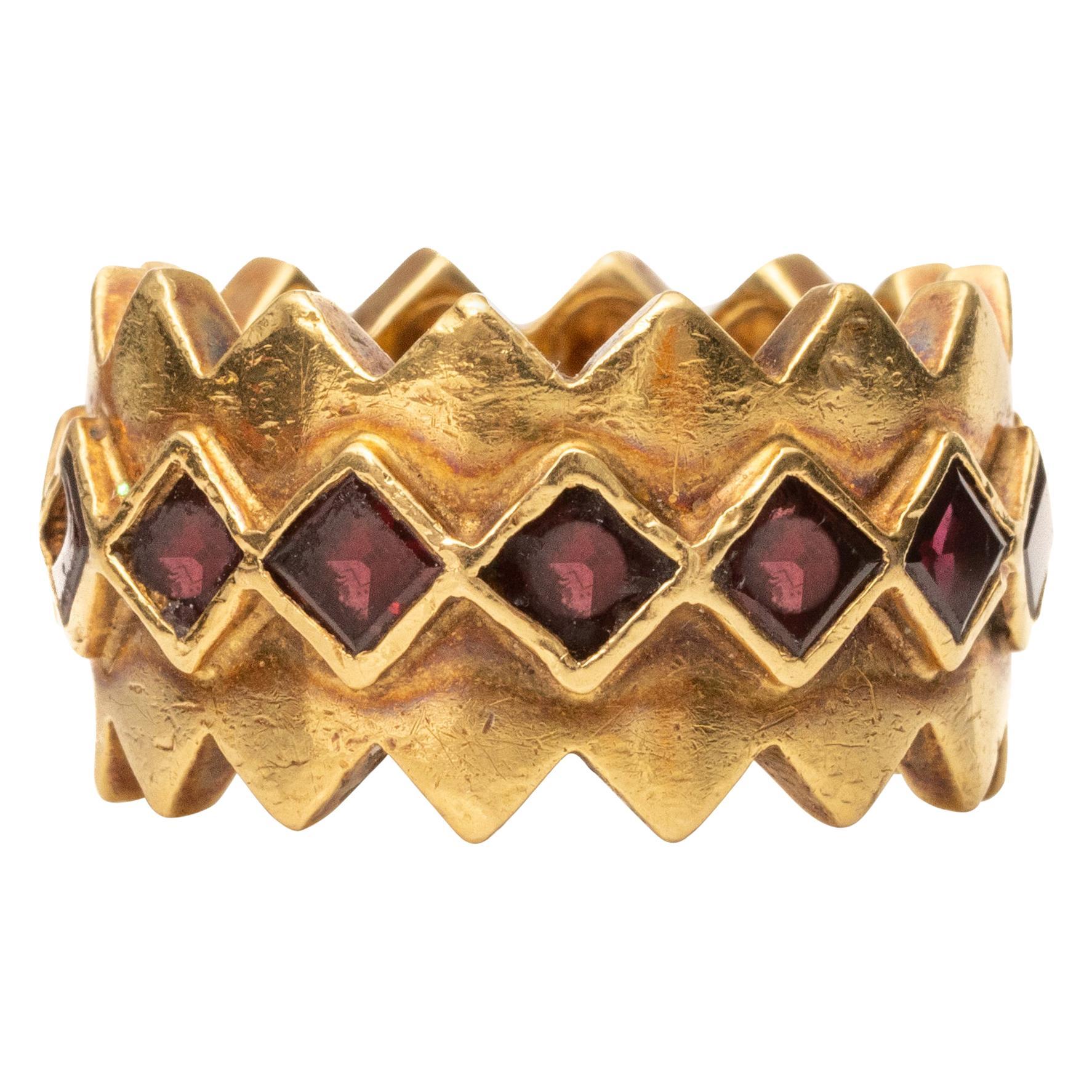 Tiffany & Co. Garnet Finger Trap Ring Band, 18 Karat Gold