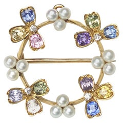 Tiffany & Co. Gem Set Pearl Pendant Brooch
