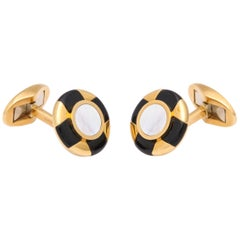 Tiffany & Co. Germany 1980s Mother of Pearl and Onyx Gold Flip Up Cufflinks