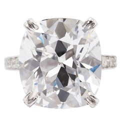 Tiffany & Co. GIA  17.06 Ct D Internally Flawless Type IIA Cushion Diamond Ring