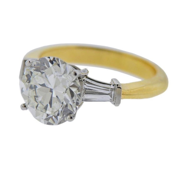 GIA 3.03ct I/VS1 round brilliant diamond, set in Tiffany & Co platinum 18k gold ring setting. Ring size - 6. Marked Tiffany & Co , 750, pt950. Weighs 5.7 grams.R-03053
