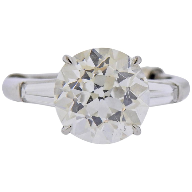 Tiffany & Co. GIA 5.56 Carat I VVS2 Old European Diamond Platinum Ring For Sale