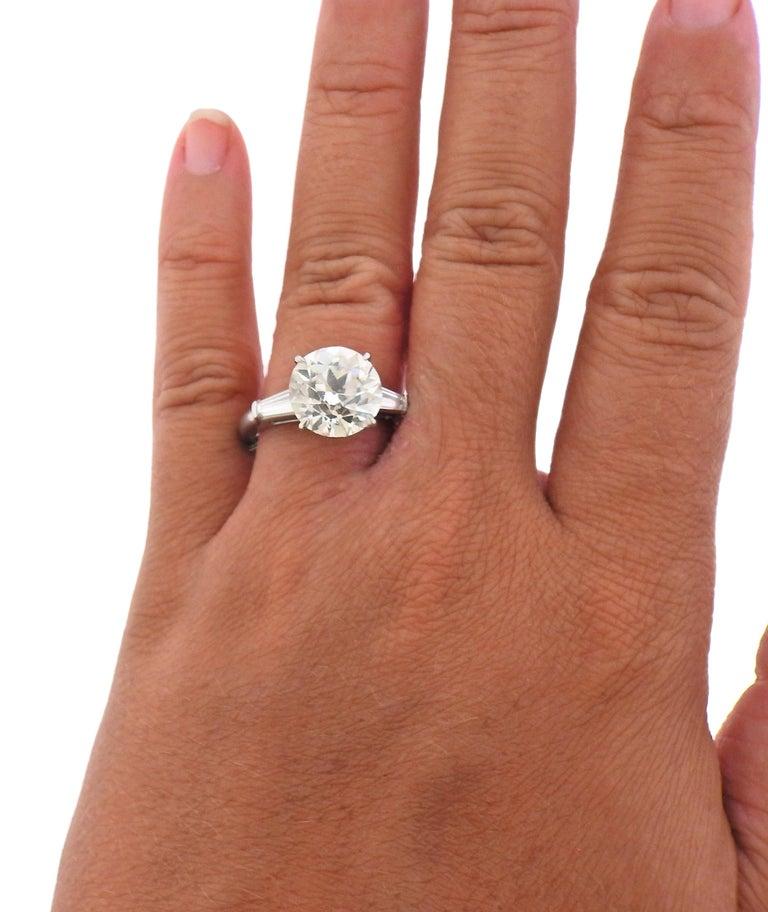 Women's Tiffany & Co. GIA 5.56 Carat I VVS2 Old European Diamond Platinum Ring For Sale