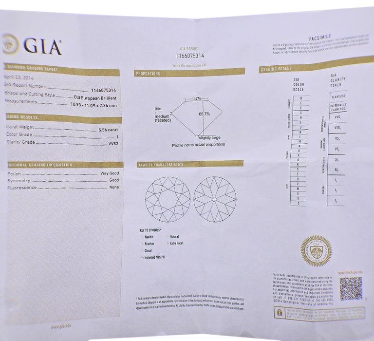 Tiffany & Co. GIA 5.56 Carat I VVS2 Old European Diamond Platinum Ring For Sale 1