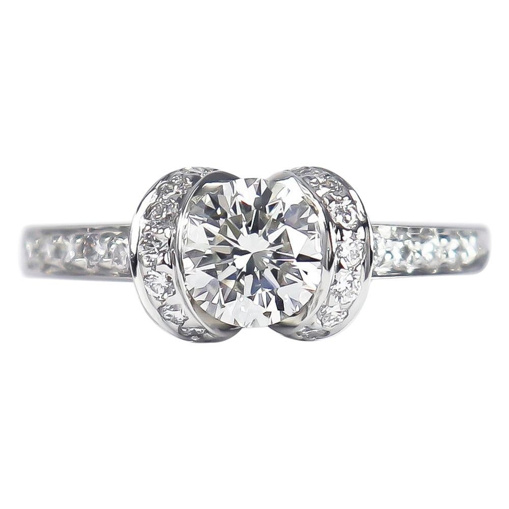 Tiffany & Co. GIA Certified 0.76 Carat F VS2 Round Brilliant Diamond Ribbon Ring
