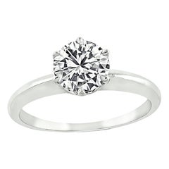 Tiffany & Co GIA Certified 0.99 Carat Diamond Solitaire Engagement Ring