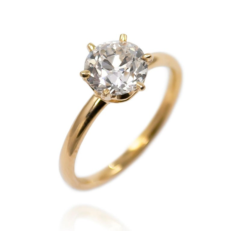 Tiffany & Co. GIA Certified 1.22 Carat Old European Cut Diamond Solitaire Ring In Excellent Condition For Sale In New York, NY