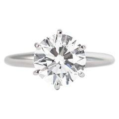 Tiffany & Co. GIA Certified 2.06 Carat Brilliant Round Diamond Solitaire Ring