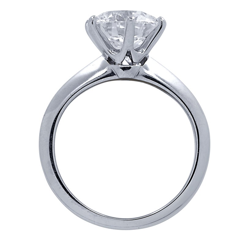 Spectacular Tiffany & Co. engagement ring crafted in Platinum, showcasing a sensational GIA Certified round brilliant cut diamond weighing 2.23 carats, D color, VS1 clarity, with excellent cut, polish and symmetry grades, with Tiffany & Co.
