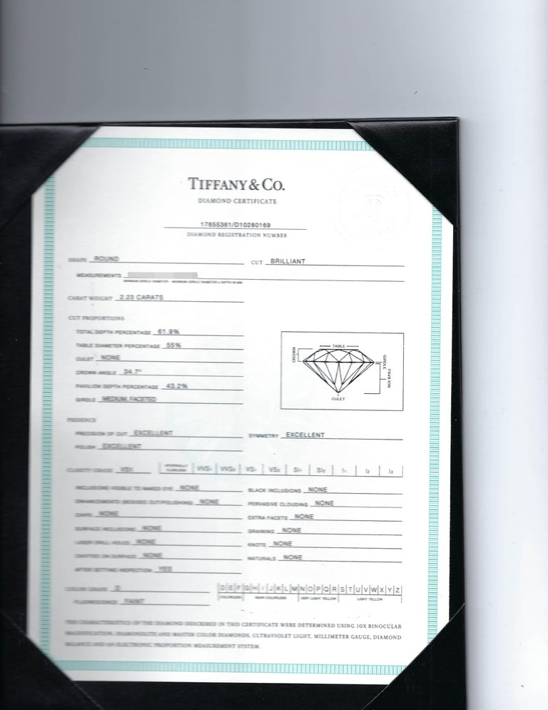 Women's Tiffany & Co. GIA Certified 2.23 Carat Diamond Engagement Ring For Sale