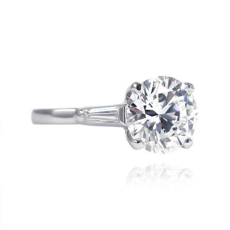 Contemporary Tiffany & Co. GIA Certified 2.54 Carat E VS1 Brilliant Round Diamond Ring