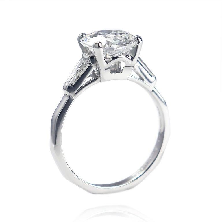 Round Cut Tiffany & Co. GIA Certified 2.54 Carat E VS1 Brilliant Round Diamond Ring