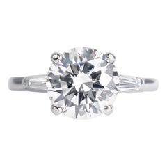 Tiffany & Co. GIA Certified 2.54 Carat E VS1 Brilliant Round Diamond Ring