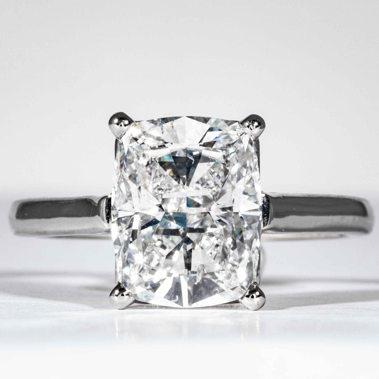 This diamond ring is offered by Shreve, Crump & Low. This 3.05 carat GIA Certified D SI1 cushion cut diamond measuring 10.07 x 7.92 x 5.20 mm is custom set in a handcrafted platinum solitaire ring, signed Tiffany & Co. The 3.05 carat cushion cut is