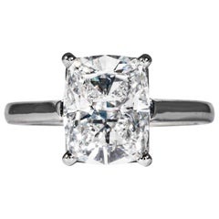 Tiffany & Co. GIA Certified 3.05 Carat D SI1 Cushion Cut Diamond Solitaire Ring