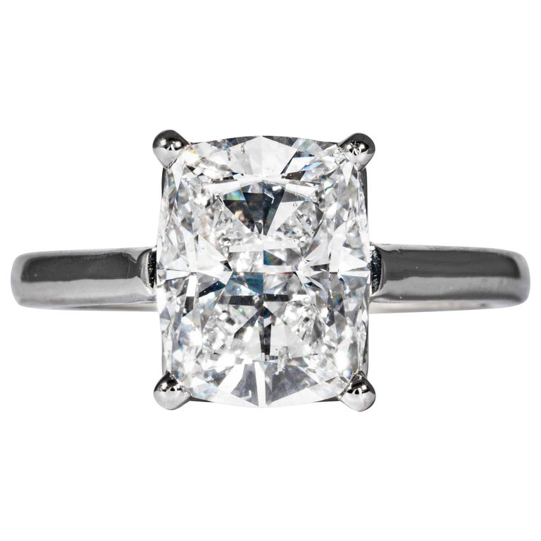 Tiffany & Co. GIA Certified 3.05 Carat D SI1 Cushion Cut Diamond Solitaire Ring For Sale